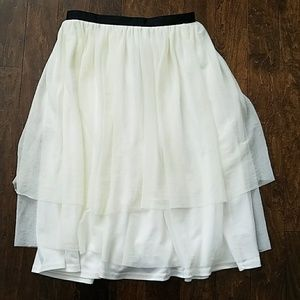 Off white tulle midi skirt